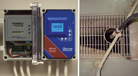 Open channel flow monitors with non-contacting sensors measure plant influent