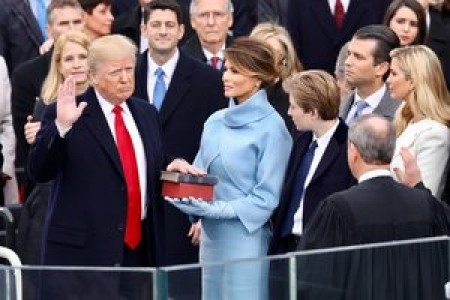 President Donald Trump being sworn in on January 20, 2017 at the U.S. Capitol building in Washington, D.C.