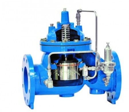 Cross-section of Singer's 8 inch Pressure Reducing Control Valve with Anti-Cavitation technology