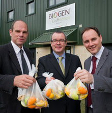 The new BiogenGreenfinch facility at the university will convert food waste and cow slurry into biogas. l – r: Paul Rigg, Finance Director - Harper Adams University College; John Greaves, Director of Projects - BiogenGreenfinch; Paul Moran, Estates Manager - Harper Adams University College