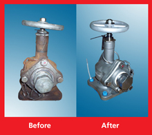 A valve 'before' and 'after' remanufacturing