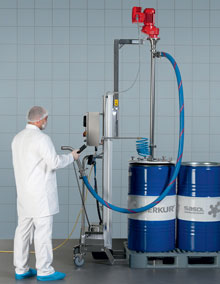 The Viscoflux system can gently transfer high-viscosity materials, such as Vaseline, even from special see container drums