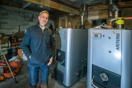 Yorkshire Riding Centre director Chris Bartle with Ariterm wood pellet boilers