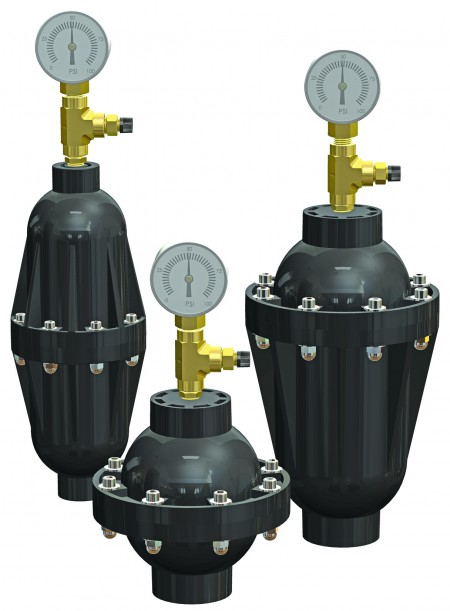 Griffco's new pulsation dampeners are available in a variety of body and component materials