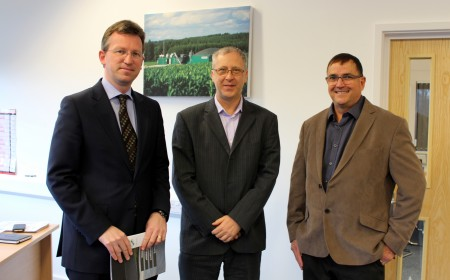 Right to left Jeremy Wright MP, AgriKomp director, Steven Cook; and AgriKomp general manager, Quentin Kelly-Edwards.