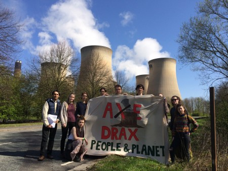 Protesters outside Drax's power station in Yorkshire