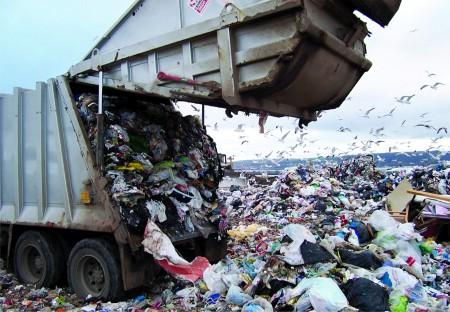 Dumping plastic in landfill