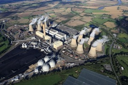 Aerial view of Drax's plant in North Yorkshire, UK
