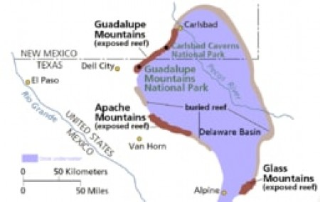 Map of the Delaware Basin — a geologic depositional and structural basin in West Texas and southeastern New Mexico.