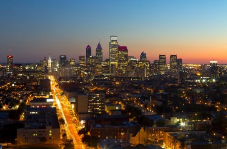 The Philadelphia Skyline, looking south (via Wikimedia Commons, by Summersleek).