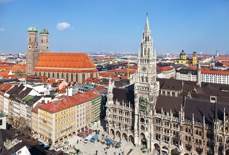 Munich's Old Town, the city is just east of the Allgau region, where Pumpen Karrer operates (Wikimedia Commons/Thomas Wolf).