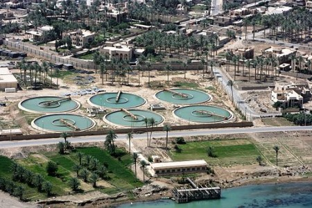 Aerial view of a water treatment plant (Wikimedia Commons/Jeremy M. Giacomino, U.S. Marine Corps)