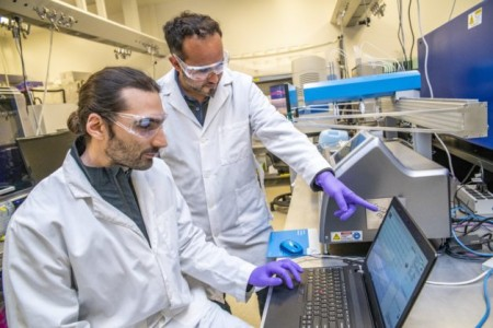 A new approach developed by Zak Costello (left) and Hector Garcia Martin brings the the speed and analytic power of machine learning to bioengineering. (Credit: Marilyn Chung, Berkeley Lab)