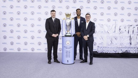 Pictured at the launch event at Singapore International Water Week (l-r):  •	Damian Willoughby, Senior Vice President of Partnership at City Football Group •	Club legend, Joleon Lescott •	Patrick Decker, President and CEO of Xylem