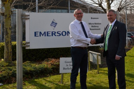 Ray Harrison, managing director of Delta Controls with Damian Selina, managing director of Emerson's Rosemount Measurement